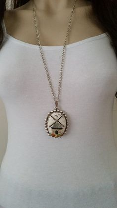 Cross stitch necklace mill necklace pendant jewelry by SmyrnaArt