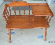 This is a very nice Ethan Allen solid wood American made gossip bench we have for sale for $175. If you are interested give us a call at 217-361-5843 or 217-836-3043 and for store hours and directions to the Barn go to http://BeckysBarn.com We accept all major credit or debit cards and cash. Delivery is available for a small fee and pickers are welcome. Come see our new building full of furniture, antiques and collectibles and experience the new Becky's Barn and