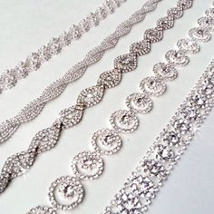 Glamorous Rhinestone Bridal Belt Sash - Custom Ribbon - White Ivory Silver - Crystal - Wedding Dress Belt - Extra Long. $54.00, via Etsy.