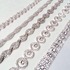 Glamorous Rhinestone Bridal Belt Sash - Custom Ribbon - White Ivory Silver - Crystal - Wedding Dress Belt - Extra Long. $54.00, via Etsy.