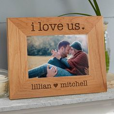Engraved Wood Picture Frames - I Love Us - 20286 Engraved Picture Frames, Love Picture Frames, Picture Frame Crafts, Wedding Picture Frames, Personalized Picture Frames, Cute Frames, Wedding Frames, Picture On Wood, Frames On Wall