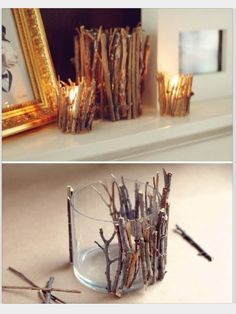 Glue twigs to clear candle holder