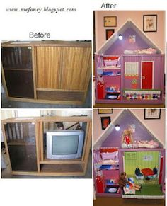 re-purposed entertainment center, from party 47