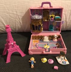 "pollyfan fucks-100 06"" Polly Pocket Polly In Paris Pink Suitcase 1996 Compact Vintage COMPLETE  Bluebird"