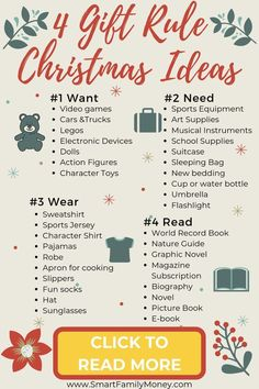5 Gift Rule for Christmas: Why You Need To Try It - Smart Family Money Do you want to try the 4 Gift Christmas Rule with your kids this year? Check out these great Christmas gift ideas for th. Christmas Presents For Kids, Cheap Christmas, Christmas Gifts For Kids, Holiday Fun, Christmas Holidays, Best Gifts For Kids, Christmas Ideas For Parents, Christmas List Ideas, Christmas Cookies