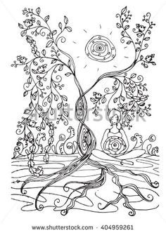 Adult Coloring Book Page With Pregnant LadyPregnancy In Zentangle