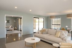 The guest bedroom is also painted in Resene Foggy Grey. Paint Color Schemes, Wall Paint Colors, Paint Colors For Home, Living Area, Living Room Decor, Living Rooms, Basement Wall Colors, Paint Combinations, Built In Seating