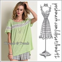 Lime & Lace Top Super cute apple green top with lace detail and key closure on back. Made of cotton, spandex. Size S, M, L Threads & Trends Tops