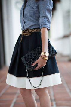 The Lure Of The Longer Length Skirt #leopard #rib #denim #lace #shirt #mini #short #tail #detail #bag #chambray #shirt #short