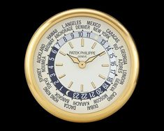 World Time Wall Clock by Patek Philippe~ This incredible world time brass wall clock was crafted by the famed Patek Philippe. The clock is modeled after Patek's reference 5110 World Time wristwatch, considered among the most revered creations from the firm. ~M.S. Rau Patek Philippe World Time, Pope Pius Ix, Christian Ix, Clocks For Sale, Time Clock, Perpetual Calendar, Antique Clocks, Telling Time, Marketing Tools