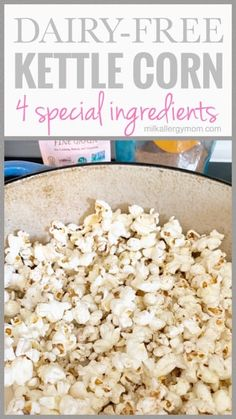 Dairy-Free Kettle Popcorn With Best Ingredients. Dairy Free Appetizers, Dairy Free Snacks, Dairy Free Recipes, Gluten Free, Clean Eating Desserts, Healthy Desserts, Healthy Eats, Kettle Corn Seasoning Recipe, Free Popcorn