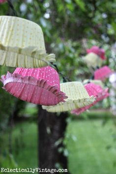 Make Cupcake Liner Lights - Perfect Outdoor Decoration Party Deco, Crafts To Make, Diy Crafts, Cupcake Liners, Party Lights, Diy Party, Decoration, Outdoor Gardens, Party Time