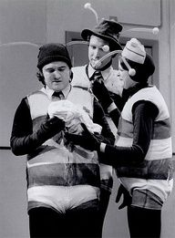 """The original cast of Saturday Night Live as """"The Killer Bees."""" John Belushi, Chevy Chase & Gilda Radner, one of the funniest ever. Gilda Radner, The Blues Brothers, Old Tv Shows, Saturday Night Live, Classic Tv, The Good Old Days, Back In The Day, Best Tv, Funny People"""