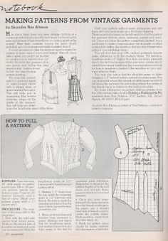 how to create a pattern from an existing piece of clothing... from Sewing Vintage: How To Pull A Pattern