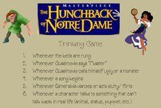 Hunchback of Notre Dame Drinking Game for adult Girls Disney movie night :) Film Disney, Disney Fun, Disney Girls, Disney Drinks, Girl Birthday Themes, Birthday Games, Movie Drinking Games, Office Party Games, Alcohol Games