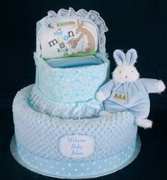 Bunnies by the Bay inspired boy's bassinet diaper cake.  www.facebook.com/DiaperCakesbyDiana