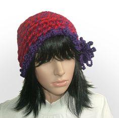 chunky purple flower #crochet beanie be Renate Kirkpatrick