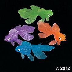 "PINATA GOODY BAGS 72 VINYL GOLDFISH FISH 2/"" VENDING PARTY FAVOR BIRTHDAY"