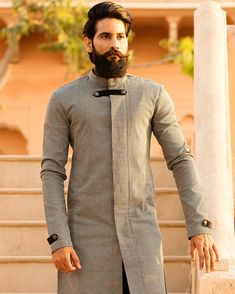 Image may contain: 1 person, standing and beard Wedding Kurta For Men, Wedding Outfits For Groom, Wedding Suits, Kurta Men, Boys Kurta, Love U Hubby, Stylish Mens Outfits, Male Outfits, Indian Men Fashion