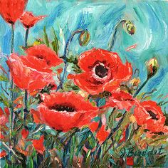 #poppies #decor #impressionist #art Original Impressionist Oil Painting Floral by Jennifer Beaudet
