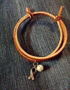 Leather Slipknot Lung Cancer Awareness Bracelet by AmyKsOriginals, $4.00