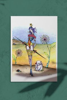 """This is a fine art print of my original watercolor painting titled """"For the Hunt"""" from the Circus Circus series. The series is about a girl with magical power escaping the circus with her partner bunny, and the adventures they encounter along the way. Watercolor Print, Watercolor Paintings, Circus Circus, Magical Power, Figurative Art, Whimsical, Bunny, Fine Art Prints, Wall Decor"""