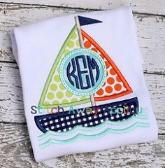 Sail Boat Monogram Circle Applique - 4 Sizes! | What's New | Machine Embroidery Designs | SWAKembroidery.com Stitch Away Applique
