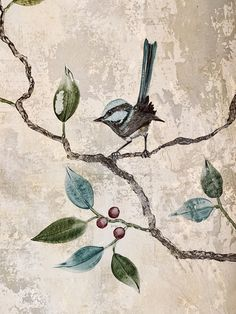 Interior Mural at Mya Tiger (Melbourne, Espy Hotel) Green Palette, Bird Wall Art, Paint Effects, Nature Decor, Fresco, Art Decor, Painted Walls, Sparrows, Interior