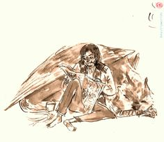 'A messy watercolour Sirius ... You can't see it but he doodled on Fudge's portrait in the paper...' by Beatrijs