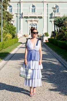 Blue Stripe Tiered Ruffle Dress