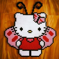 Hello Kitty butterfly perler bead sprite by dazer24