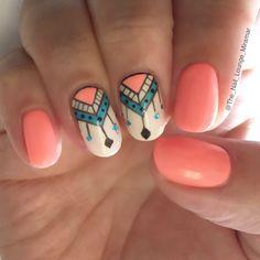 Coral tribal nail art design