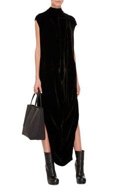 Sleeveless Mock Neck Draped Velvet Dress by RICK OWENS Now Available on Moda Operandi