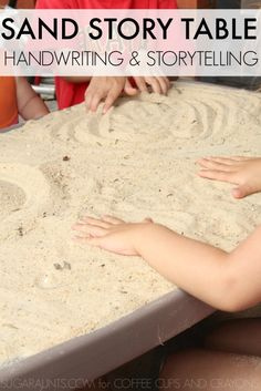 Make your own sensory surface with sand to practice handwriting and storytelling with kids. Handwriting Activities, Improve Your Handwriting, Improve Handwriting, Alphabet Activities, Literacy Activities, Sensory Activities Toddlers, Infant Activities, Toddler Preschool, Sensory Play