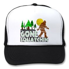 Original, unique distressed Gone Squatchin design hat.  Featuring the elusive Sasquatch!  A great Christmas and Holiday gift idea for the Bigfoot/Sasquatch enthusiast in your life!