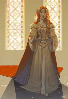 rhottenart:  Catelyn Tully, about to marry her dead fiance's younger brother in the middle of a rebellion.  Family, duty, honor.