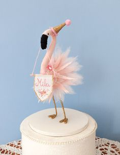 Unique pink flamingo cake topper, perfect for a themed party! Pink and sparkling gold flamingo ballerina with a party hat. Made by cotton fabric,