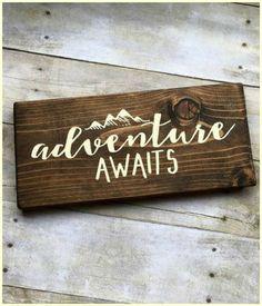 Adventure Awaits Farmhouse Style Sign #Farmhouse #Rustic #Cottage #Mountains #FixerUpper #PillowCover #Ad #Country #Roses #HomeDecor #WallArt #FarmhouseDecor #Adventure #Travel #Wanderlust #AdentureAwaits