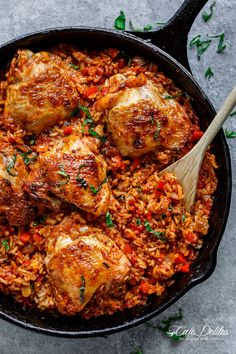 Crispy chicken bakes over a bed of tomato basil rice in this One Pan Tomato Basil Chicken & Rice. Dinner is ready in 45 minutes!