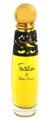 Tentations by Paloma Picasso: Introduced 1996, a provocative oriental floral fragrance, reveals mystery & passion of fragrance. Notes include rare floral & spicy blends of flower of the vine, & five Afghan epices & malabar pepper. Composition opens with a breeze of bergamot, pepper, peach, orange blossom, Vodka aroma & grape blossom; followed by the heart - carnation, rose, cinnamon, orchid, clove & jasmine; to the base - sensuous musk, Tonka, benzoin, sandalwood, incense, Miro, labdanum…