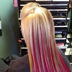 Blonde hiltes and some #burgundy #extensions