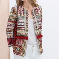 Zara embroidered jacket size M Zara embroidered jacket size M. Fits true to size. Only worn once and perfect condition Zara Jackets & Coats