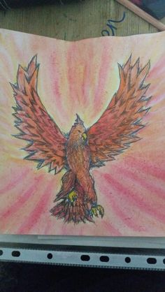 Fire Phoenix Drawing and Watercolour