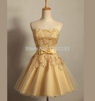 Sí por bordado off the hombro oro vestidos fiesta 2014 nuevo amor del vestido de bola real vestido del cordón del verano