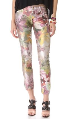 Juicy Couture Tropical Floral Coated Jeans w/ Metallic Coating