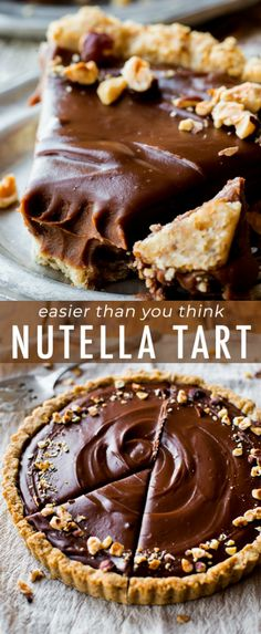 The most unbelievably rich and creamy Nutella Tart! Complete with a toasted haze… The most unbelievably rich and creamy Nutella Tart! Complete with a toasted hazelnut crust. Recipe on sallysbakingaddic… Nutella Brownies, Desserts Nutella, Nutella Recipes, Köstliche Desserts, Chocolate Recipes, Delicious Desserts, Dessert Recipes, Yummy Food, Nutella Pie