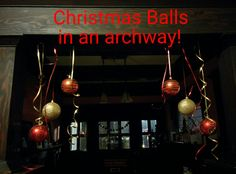 Use thumb tacks to hang pretty balls in an archway! Super fast and easy Christmas home decor! Christmas Balls, Simple Christmas, Christmas Home, Christmas Holidays, Christmas Decorations, Easy, Pretty, Crafts, Home Decor