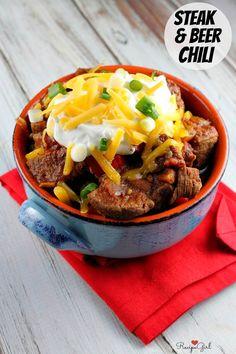 Steak and Beer Chili #recipe - from RecipeGirl.com