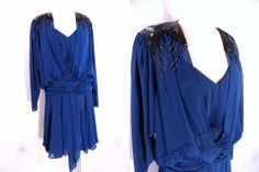 Beaded Dress Sz M Fishtail Sheer Chiffon Vintage 80s Blue Cocktail Party Formal