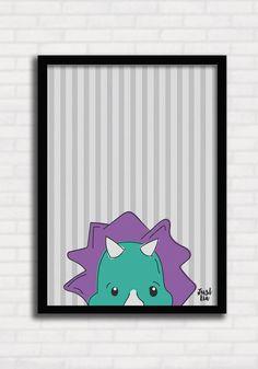 Poster/Quadro para Crianças - Dinossauros Listras 1 - Just Lia